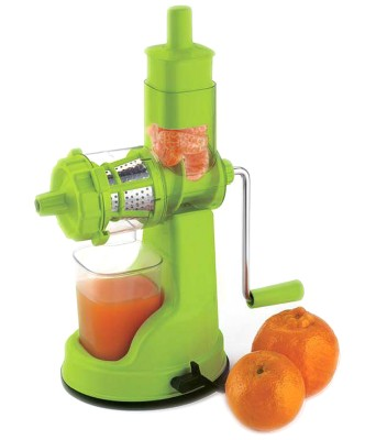 Bluesky Fruit & Vegetable( Steel Handle) Plastic Hand Juicer(Green Pack of 1)