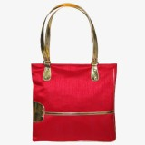 KBN Leather Hand-held Bag (Red, Gold)