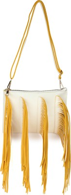 Amatra Girls, Women Yellow, White Leatherette Sling Bag