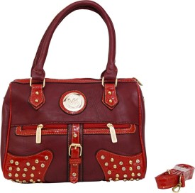 PARV COLLECTIONS Women Red Leatherette Tote