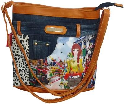 Wrap Girls Multicolor Denim Sling Bag