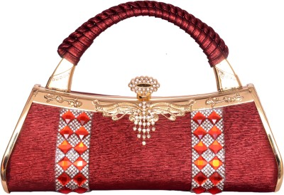 Tanishka Exports Girls Casual Gold, Maroon  Clutch