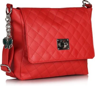 Butterflies Women Casual Red PU Sling Bag