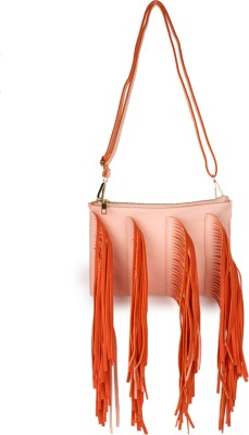 Amatra Girls, Women Casual, Evening/Party, Formal Orange, Pink Leatherette Sling Bag