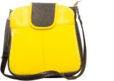 Designish Hand-held Bag (Yellow, Brown)