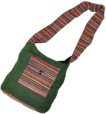 Great Art Women Green Jute Sling Bag