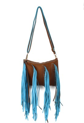 Amatra Girls, Women Brown, Blue Leatherette Sling Bag