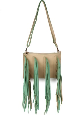 Amatra Girls, Women Beige, Green Leatherette Sling Bag