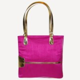 KBN Leather Hand-held Bag (Pink, Gold)