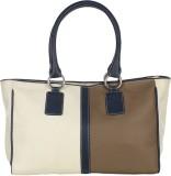 Handle Drop Hand-held Bag (Brown, White)