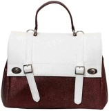 Ebry Hand-held Bag (White, Brown)