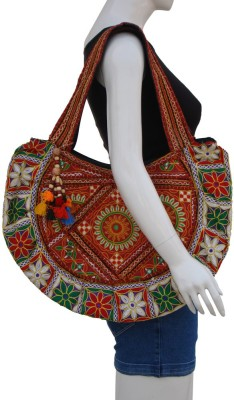The Living Craft Women Multicolor Cotton Hobo