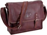 Hide Stitch Messenger Bag (Maroon)