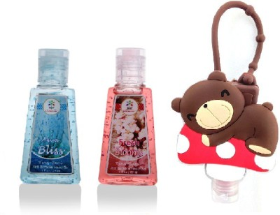 Bloomsberry Teddy holder with Fresh Blooms, Aqua Bliss Hand Sanitizer