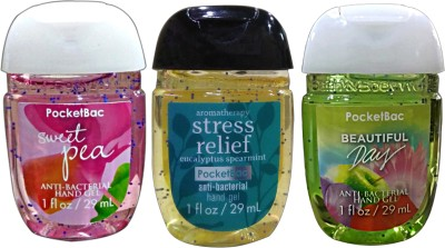 Bath & Body Works Set Of 3 Sweet Pea , Stress Relief , Beautiful Day Anti Bacterial Hand Gel Hand Sanitizer