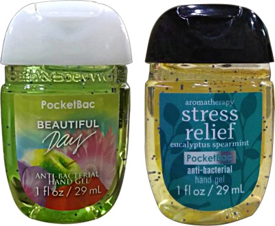 Bath & Body Works Set Of 2 Beautiful Day , Stress Relief Anti Bacterial Hand Gel Hand Sanitizer