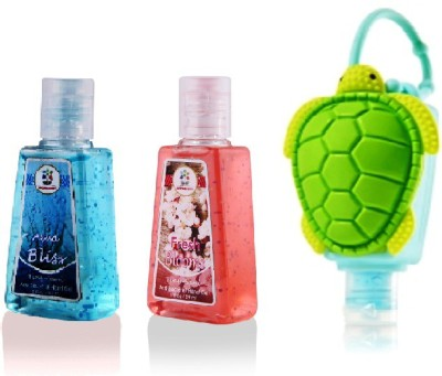 Bloomsberry Tortoise holder with Aqua Bliss, Fresh Blooms Hand Sanitizer