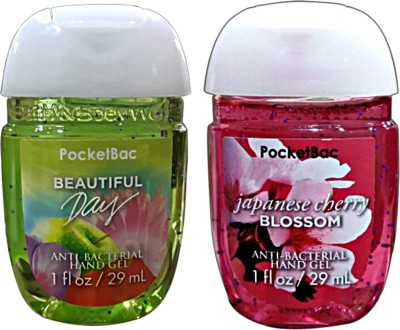 Bath & Body Works Set Of 2 Beautiful Day , Japanese Cherry Blossom Anti Bacterial Hand Gel Hand Sanitizer