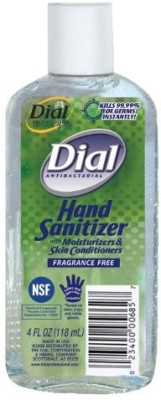 Dial 1715571 fragrance free antibacterial instant hand sanitizer gel with moisturizer and flip top cap