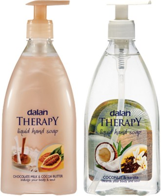Dalan Therapy Liquid Soap - Combo Pack of Chocolate Milk & Cocoa Butter and Coconut (400 ml) each & Vanilla Imported from Turkey Hand Wash