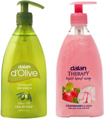 Dalan Liquid Soap Combo Pack of dOlive Pure Olive Oil Therapy Soap of Strawberry & Milk Cream Hand Wash