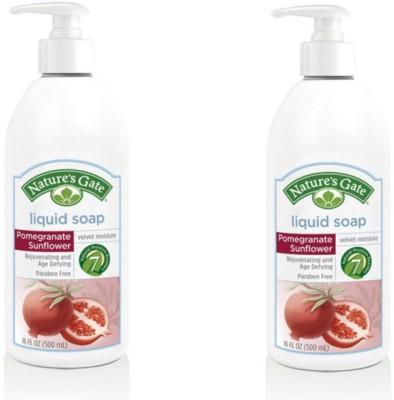 Nature,S Pomegranate Sunflower Velvet Moisture Liquid Soap (Pack of 2) Hand Wash