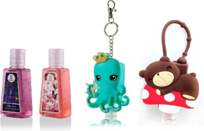 Blooms Berry Octopus and Teddy holder with Fresh Blooms, Spring Fizz Hand Sanitizer(60 ml)