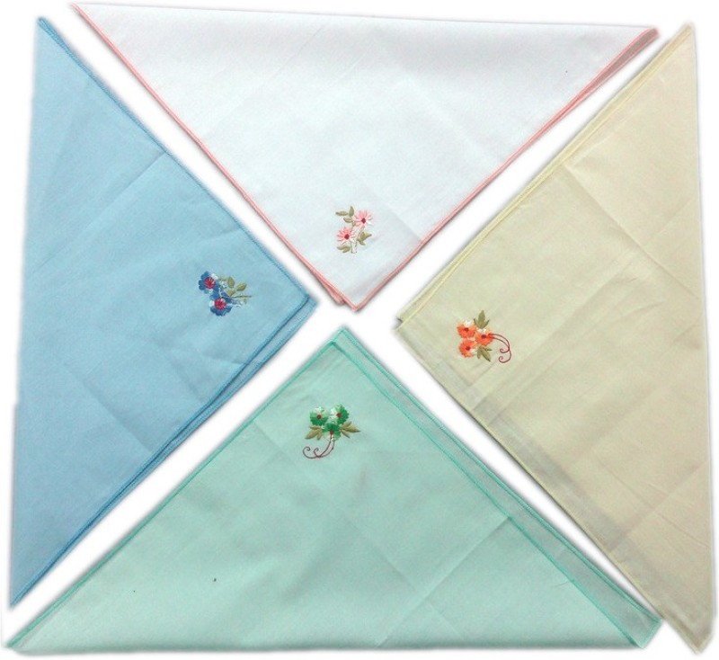Blacksmith 100% Embroidered Cotton Ladies Handkerchief in 4 Colors Handkerchief(Pack of 4)