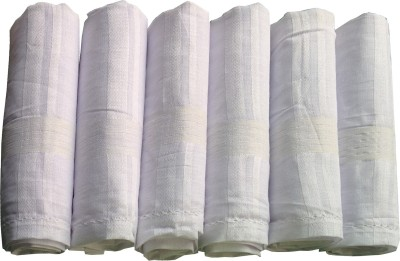 Supriya Plain White Men,s Cotton 45x45Cm Pack of 6 Handkerchief