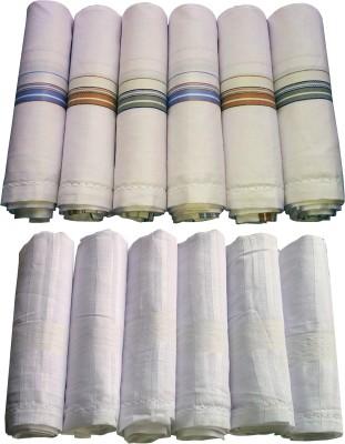 XYZ Textiles Men's Plain White and Colored Combo Rumal Handkerchief