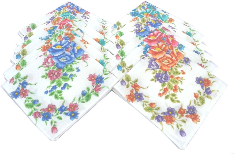 SaifeeSons Flower Design Handkerchief(Pack of 12)