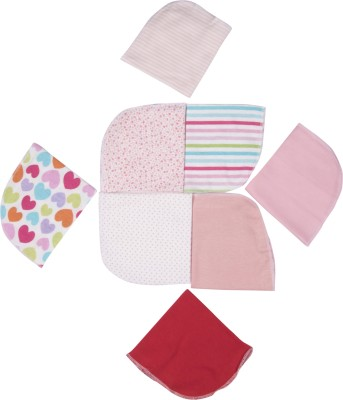 Pebbles Hankies - Set of 8 - Pink Multi color Handkerchief