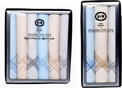 Paras (Q.No.V&M600-V&M300DD)-Men,s 100 % Natural Superfine Cotton Hanky Handkerchief
