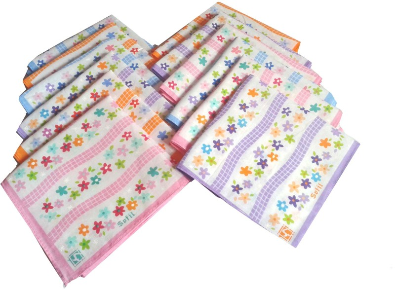 SaifeeSons Daisies Flowers Design Handkerchief(Pack of 12)