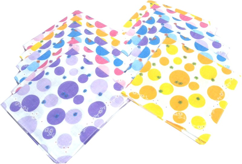 SaifeeSons Coloured Circles Designs Handkerchief(Pack of 12)