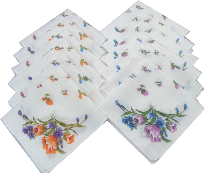 SaifeeSons Spring Flowers Handkerchief(Pack of 12)