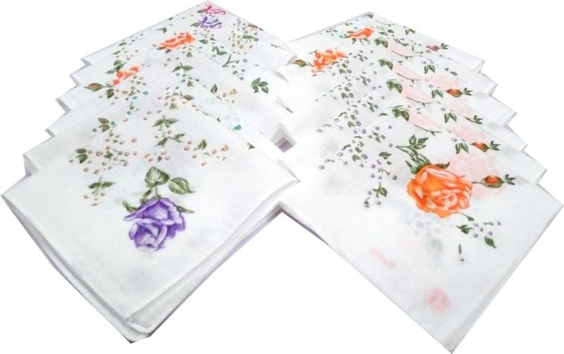 SaifeeSons Flower Roses Handkerchief(Pack of 12)