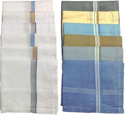 Supriya Combo of White & Multicolor Men's 45x45Cm Pack of 12 Handkerchief