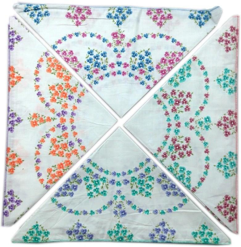 Blacksmith 100% Cotton Ladies Handkerchief Colorful Prints Handkerchief(Pack of 4)