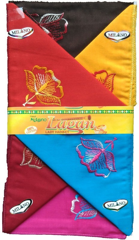 Milano Exclusive Embroidery Designs Handkerchief(Pack of 6)