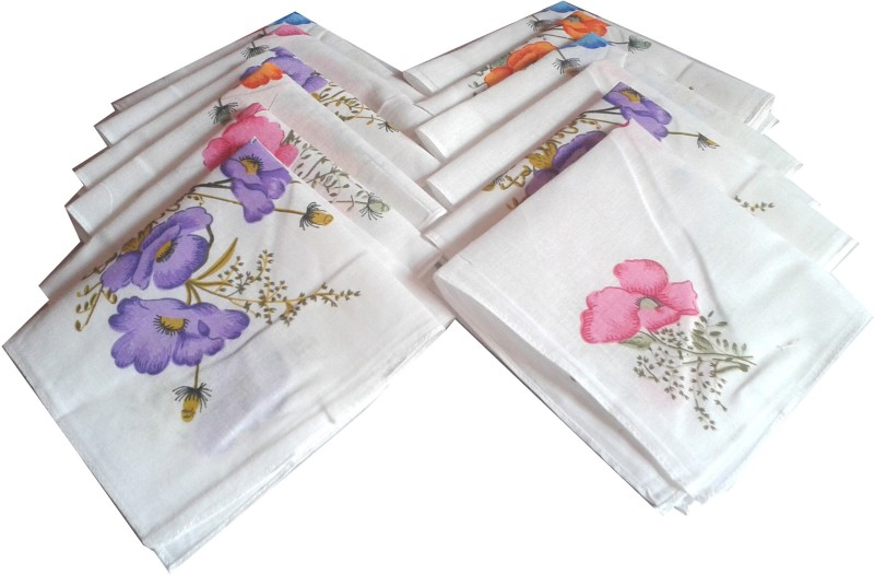 SaifeeSons Flower Clusters Handkerchief(Pack of 12)