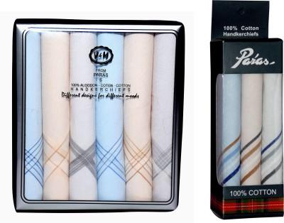 Paras (Q.No.V&M300DD-999)-Men,s 100 % Natural Cotton Hanky Handkerchief
