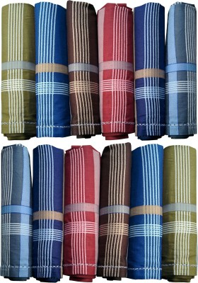 Supriya Dark Color Men,s Cotton Striped 44x44Cm Pack of 12 Handkerchief