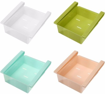 Goodbuy Multipurpose set of 4 Plastic Storage Shelf Holder Box Sliding Drawer Fridge Organizer