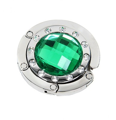 KARP Rhinestones Diamond Portable Foldable Handbag & Purse Lock Hanger/Holder/Table Hook for Ladies-Dark Green Handbag Organizer