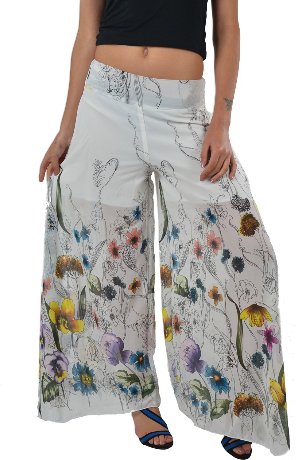 Striyah Couture Floral Print Faux Georgette Womens Harem Pants