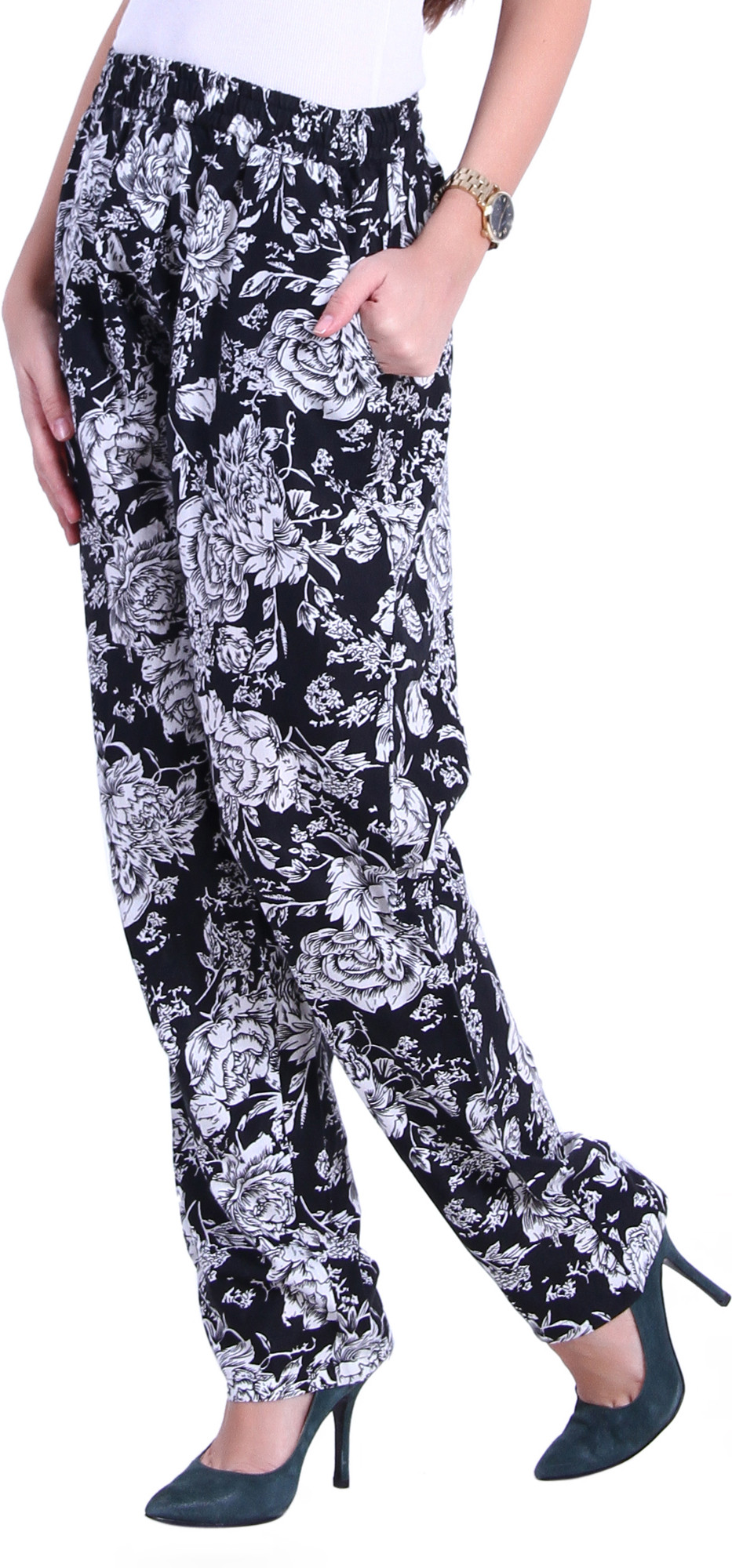 The Gud Look Floral Print Polyester Womens Harem Pants