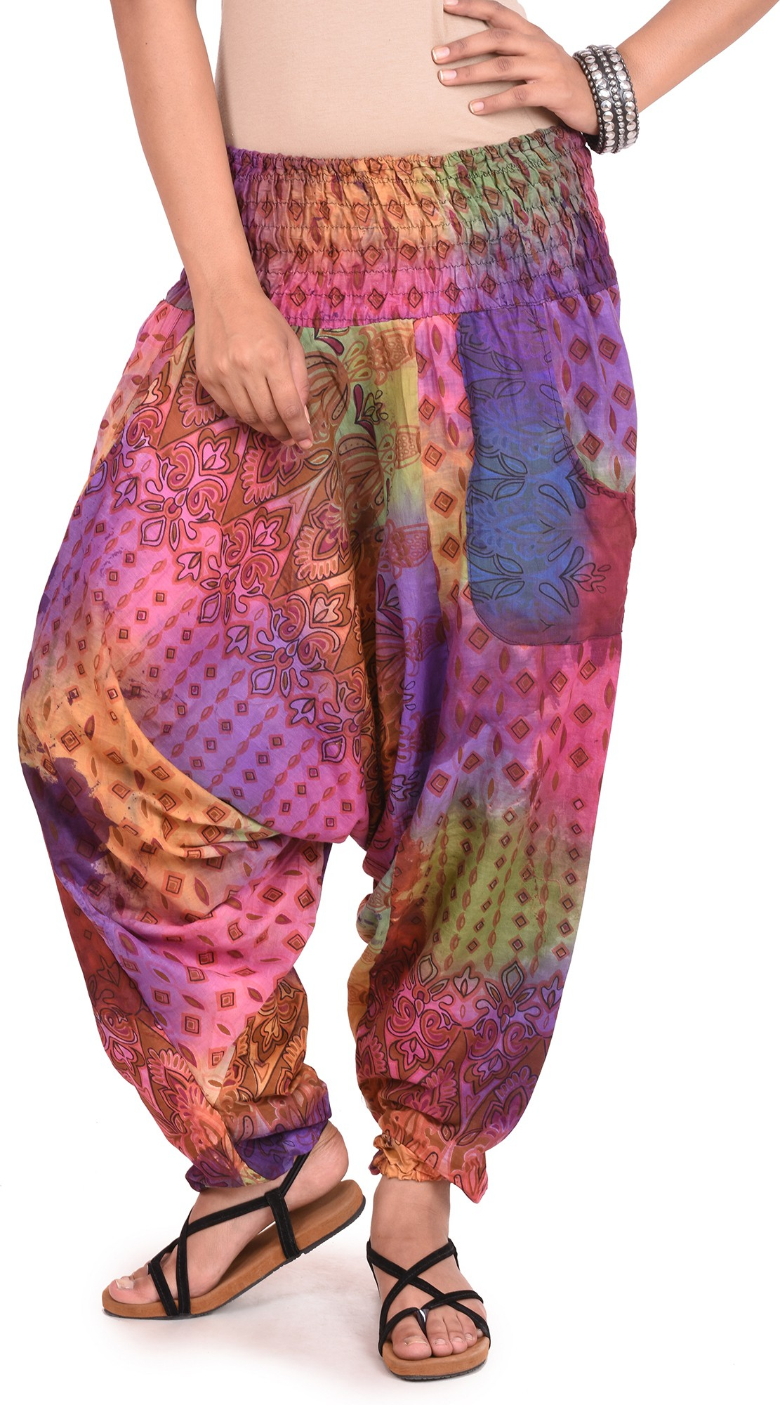 Happy Hangar Printed Poly Cotton Womens Harem Pants