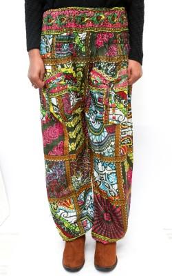Rustic Village Printed Art Silk Women's Harem Pants