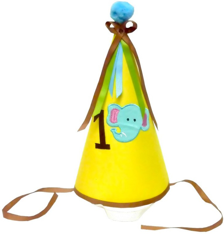 Little Pipal Elephant First Birthday Hat(Yellow, Pack of 1)
